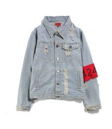 Wholesale Gold Denim Jacket - 424 Men Denim Blue Jean Jackets Fashion Single Breasted Distressed Holes Design Coats Slim Fits Clothing