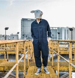 2017 nova moda coreana dos homens de mangas compridas soltas jeans macacão do vintage macacão calças jeans casual trajes cantor azul de
