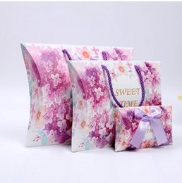 Wholesale cherry blossom papers - Cherry blossoms 20pcs large kraft pillow gift packaging box Paper Pillow Boxes For wedding candy Gift packaging box