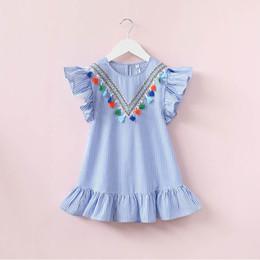 Vestido de rayas con borla de las niñas Lotus Leaf manga cuello redondo Diseño V Bebé falda de las niñas Outfit 3-7T desde fabricantes