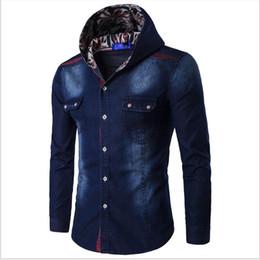 f93220bef5cf denim kapuzenhemd männer Rabatt Frühling und Herbst Shirt Herren hohe  Qualität Mode lässig Jeanshemd Herren mit