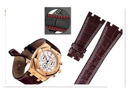 4f36eb98531 Para Audemars 100% Novo 28mm Genuíno Couro artesanal watch band Strap +  Fecho de Prata Para AP + Ferramentas