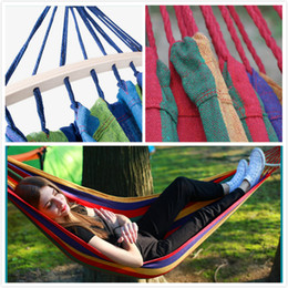 club di altalene Sconti Hot Travel Camping Hammock Tempo libero Sleeping Swing Garden Indoor Rainbow Color Canvas Amache ispessite Anti Rollover Club