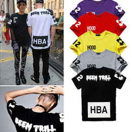 Wholesale Chinese Hood - Shanghai Story Chinese Size S---XXXL summer t shirt Hood By Air HBA X Been Trill Kanye West t shirt Hba tee shirt 4 color 100% cotton