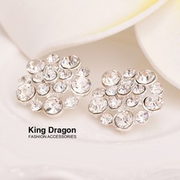 Wholesale Rhinestone Bow Center - Clear Rhinestone Button Sew On Flower Center Or Hair Bow 16MM 20pcs lot Shank Back Silver Color KD31