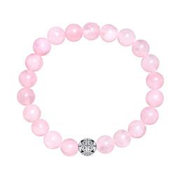 Pulseiras de charme de quartzo on-line-Natural Gemstone Rose Quartz Beads Elastic Charm Bracelet Sólido 925 Sterling Silver Duplo SorteLong Life Prata Bead para Unisex