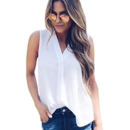 2019 camisas de oficina sexy Plus Size 5XL Mujeres sin mangas de la blusa de la gasa de la camisa 2018 Verano Sexy con cuello en V tapas sólidas de la camiseta ocasional de la oficina floja Blusa rebajas camisas de oficina sexy