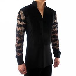 Elegantes tops de baile latino para hombre, negro, azul, tejido elástico, camisa, económico, hombres, salón de baile, flamenco competitivo, moda n7026 desde fabricantes