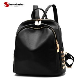 Wholesale Trend Big Bags - Shoulder bag 2017 new trend female big backpack PU leather solid color new lightweight fashion casual sweet ladies women bag