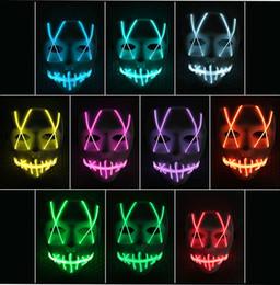 Luci a nastro di filo al neon online-Hot LED Maschera luminosa Striscia led Insegna al neon flessibile Bagliore di luce EL Cavo metallico Luce al neon Halloween viso Controller Luci di natale Giocattoli per bambini