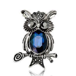 Deutschland Vintage Owl Silber überzogene Strass Broschen für Frauen Brosche Pins Schmuck Versorgung