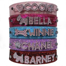 Wholesale rhinestone dog collar letters - Free Shipping PU Leather Bling Personalized Dog Collar Customized Free Name Rhinestone Buckle Pink Letter XS S M L XL