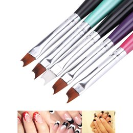 Argentina 5 Colores Nail Art Half Moon Shape French Brush Gel Polaco Coating Drawing Pen Pigmento 3D Wave Curved DIY Imagen Pintura herramienta Suministro
