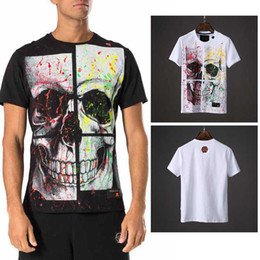 Wholesale Graffiti Shirt White - 2018 Summer t-shirts SS HARD Tee Mens crystals t shirts iconic Graffiti Splice Big skull printed tshirt leather patch Logo Short Sleeve Top