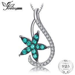 russian star Coupons - Jewelrypalace Lucky Star 0.3ct Nano Russian Simulated Emeralds Pendant 925 Sterling Silver Gifts For Mother Not Include a Chain