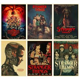 mondo degli adesivi divertenti Sconti Stranger Things 2 stagione retrò Poster Kraft Paper Bar Cafe Home Decor Vintage Pittura Wall Sticker