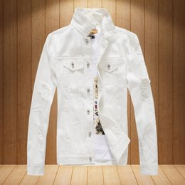 Wholesale punk coats - New Arrive Branded Rock Punk Vintage Hole Denim Jacket Men's Trendy Single-Breasted Denim Jacket Frayed Coat Streetweer