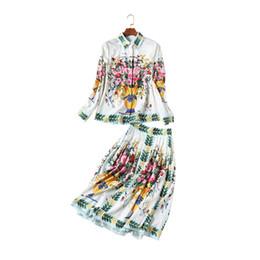 Ropa de pasarela online-Nueva ropa de mujer Europa América Alta gama Big Show Catwalk Retro Camisa de manga larga Media falda Traje de moda Dos piezas