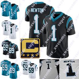 Carolina negra on-line-1 Cam Newton Jersey com remendos de capitães 22 Christian McCaffrey 59 Luke Kuechly Carolina camisa de futebol preto branco