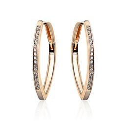 Wholesale Stylish Jewelry For Women - Women Sexy Rhinestone Loop Earrings Luxury Round Circle Earrings Stylish Jewelry for Evening Party