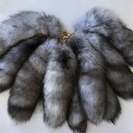 """Wholesale Blue Tail Cosplay - 10pcs 16""""-Long 100% Real Genuine Silver Blue Fox Fur Tail Cosplay Toy Keychain keyring Handbag Accessory"""
