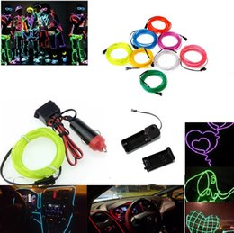 Wholesale El Cigarettes - 2AA Battery Powered Led Decoration Strips 2M 3M 5M EL Wire Tube Rope Flexible Neon Lights With Car Cigarette 10 Colors Available