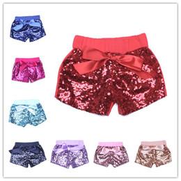Pantaloni in raso d'oro online-Pantaloncini paillettes da bambina per bambina estiva pantaloncini bowknot in raso bambini pantaloncini boutique bambina pantaloni caramelle oro rosa caldo blu nero