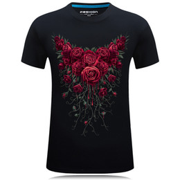 fashion collection men 2018 - 2018 Summer Collection Printed Rose Street Design Cotton T-shirt Mens Oversized 6XL T-shirt Solid Colour Tshirt Boys Tee