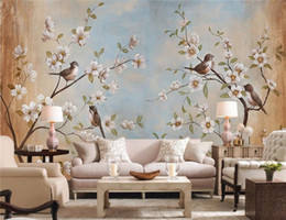 Wholesale Large Modern Paintings - 3d Photo Custom wallpaper large mural wall decals bird peach oil painting background wall papel de parede