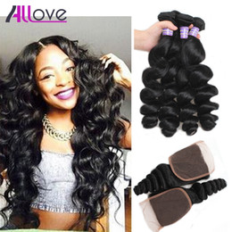 wholesale silky hair Coupons - Peruvian Hair Silky Straight Virgin Hair Bundles With Lace Closure Loose Wave Body Wave Cheap Brazilian Human Hair Weaving Deep Curly