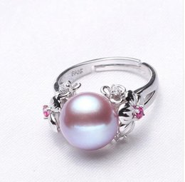 Wholesale white pearl silver ring - 10-11mm Pearl Jewelry,natural Pearl rings for love,Freshwater Pearl 925 Silver ring,ruby silver rings for women gift box