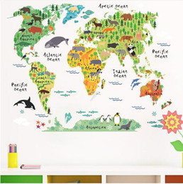 Wholesale world map wall sticker - Free shipping cartoon animals world map wall decals for kids rooms office home decorations pvc wall stickers diy mural art posters