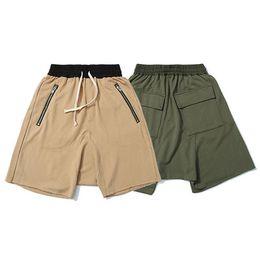 8c15a446e48 Fear Of God Summer Shorts Zipper Pocket Short Cross Pants Justin Bieber Men Casual  Sport Shorts Khaki Green Free Shipping TXH0444