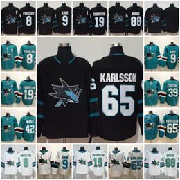 San Jose Sharks Jersey Hockey 8 Joe Pavelski 65 Erik Karlsson 19 Joe  Thornton Logan Couture 88 Brent Burns 9 Evander Kane Hertl Green Black 94fcace18