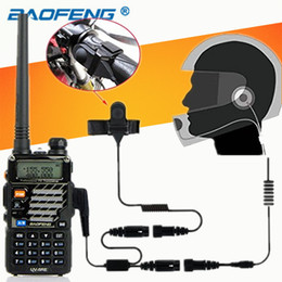 Wholesale two way headset walkie talkie - Full Face Motorcycle Helmet Headset Earpiece for Portable Two Way Radio Baofeng Walkie Talkie UV-5R UV-5RE Plus BF-888S UV-B5