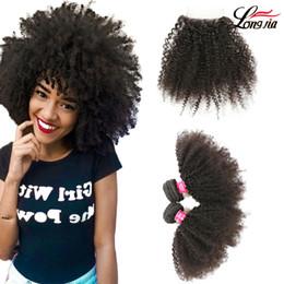 Parte de tejido brasileño online-Paquetes de armadura de cabello rizado brasileño Arfo Cabello humano sin procesar 3/4 paquetes con parte libre de cierre Extensión de cabello humano brasileño