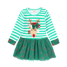 girls plaid skirt outfits Promo Codes - Green Stripe Christmas Baby Girl Dress Deer Children Xmas Clothes Girls Ball Gown Floral Tutu Dresses Crutches Candy Cane Outfit Skirts