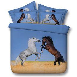 2019 pferd bettwäsche setzt in voller größe Zwei Pferde Bettbezug 3D-Bettwäsche-Sets Bettüberwürfe Bettwäsche Bettbezug Bettbezüge Jungen Bettwäsche voller Größe California King single twin Queen günstig pferd bettwäsche setzt in voller größe
