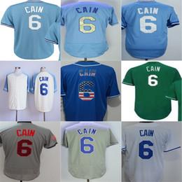 Wholesale Popular Cities - 2016 New Newest Kansas City 6 Lorenzo Cain Jersey Blue White Gray Green KC Flex Cool base Baseball Jerseys Popular Hot Sale