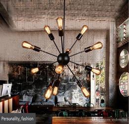 Schwarzer kronleuchter 18 lichter online-Loft satelliten led pendelleuchten schwarz kronleuchter vintage led droplight E27 Edison industrielle leuchte 12/18/20 lichter