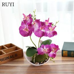 blütenbogendekorationen für hochzeiten Rabatt Künstliche Schmetterlings-Orchideen-Topfpflanzen silk dekorative Blume mit Plastiktöpfen für Hauptbalkon-Dekorationsvasensatz