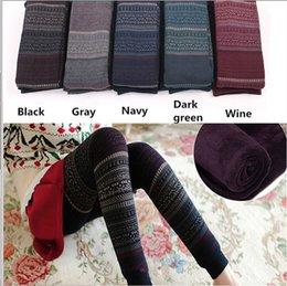 Wholesale Winter Print Fleece Leggings - New Women Winter Fleece Leggings Ladies Black Gray Navy Wine Red Retro Print Leggings Pants Stretchy Thick Fleece Lined Legging
