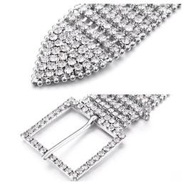 Wholesale metal elastic waist belt - Unisex Luxury Metal Chain Elastic Belts Women Diamante Crystal Chain Belt 8 Rows Rhinestone Wide Bling Female Waist Belt