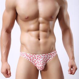 Slip de glace de glace à faible hauteur pour hommes Sexy Bikini Underwear Leaves Print Slip de pénis de Gay Sissy Thin sans soudure respirant Underwear pour Homme ? partir de fabricateur