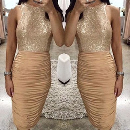 Wholesale dress cocktail evening sequin black - Champagne Gold Sheath Cocktail Dresses 2018 Bling Sequins Top Pleats Knee Length Short Prom Evening Gowns Club Wears