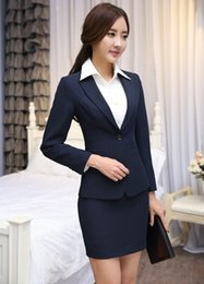 Wholesale Ladies Long Blazers Styles - Plus Size Autumn Winter Long Sleeve Career Blazers Jackets And Mini Skirt Formal Uniform Styles Office Ladies Work Wear
