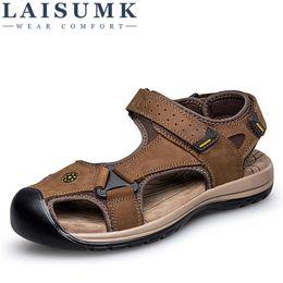 5e2a564e0fe0 2018 LAISUMK Genuine Leather Men Sandals Summer Cow Leather New for Beach  Male Shoes Mens Sladiator Sandal 39-46