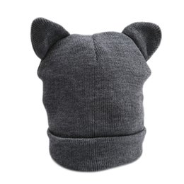 Wholesale Gray Hat Wool - Cute Cat Ears Knitted Hat Lovely Funny Winter Warm Beanie Hat For Women Female Wool Cap Fashion Design Gray White 994102