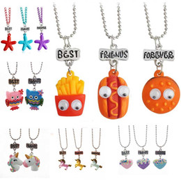 Wholesale set animals - Best friends pendant cute child jewelry Emulation resin burger hot dog necklace ice cream jewelry set BFF Owl unicorn pendant necklace