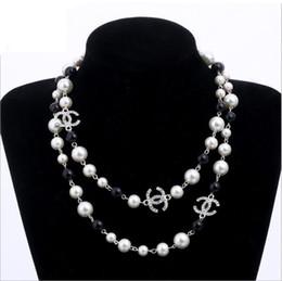 Perline lunghe catene online-perle naturali perle bianche perline collana per donna lunga catena maglione colar gioielli bijoux